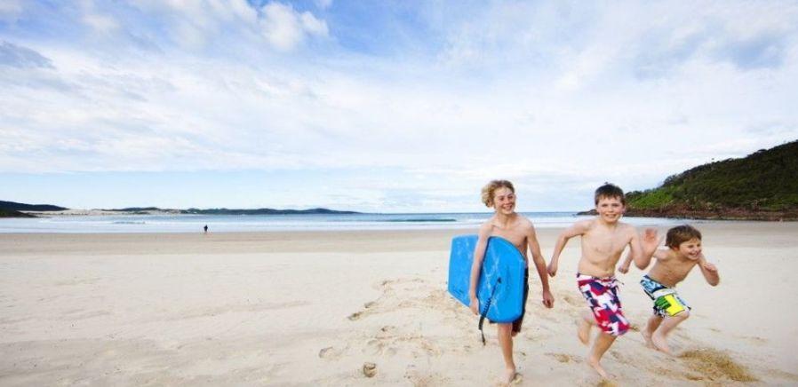 Kids On Beach Running